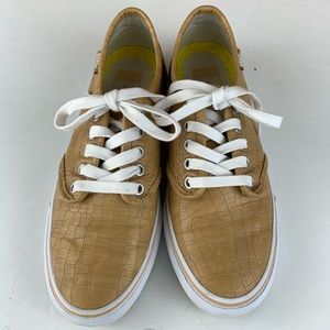 VANS Tan Leather/Faux Leather Sneakers Size 7.5